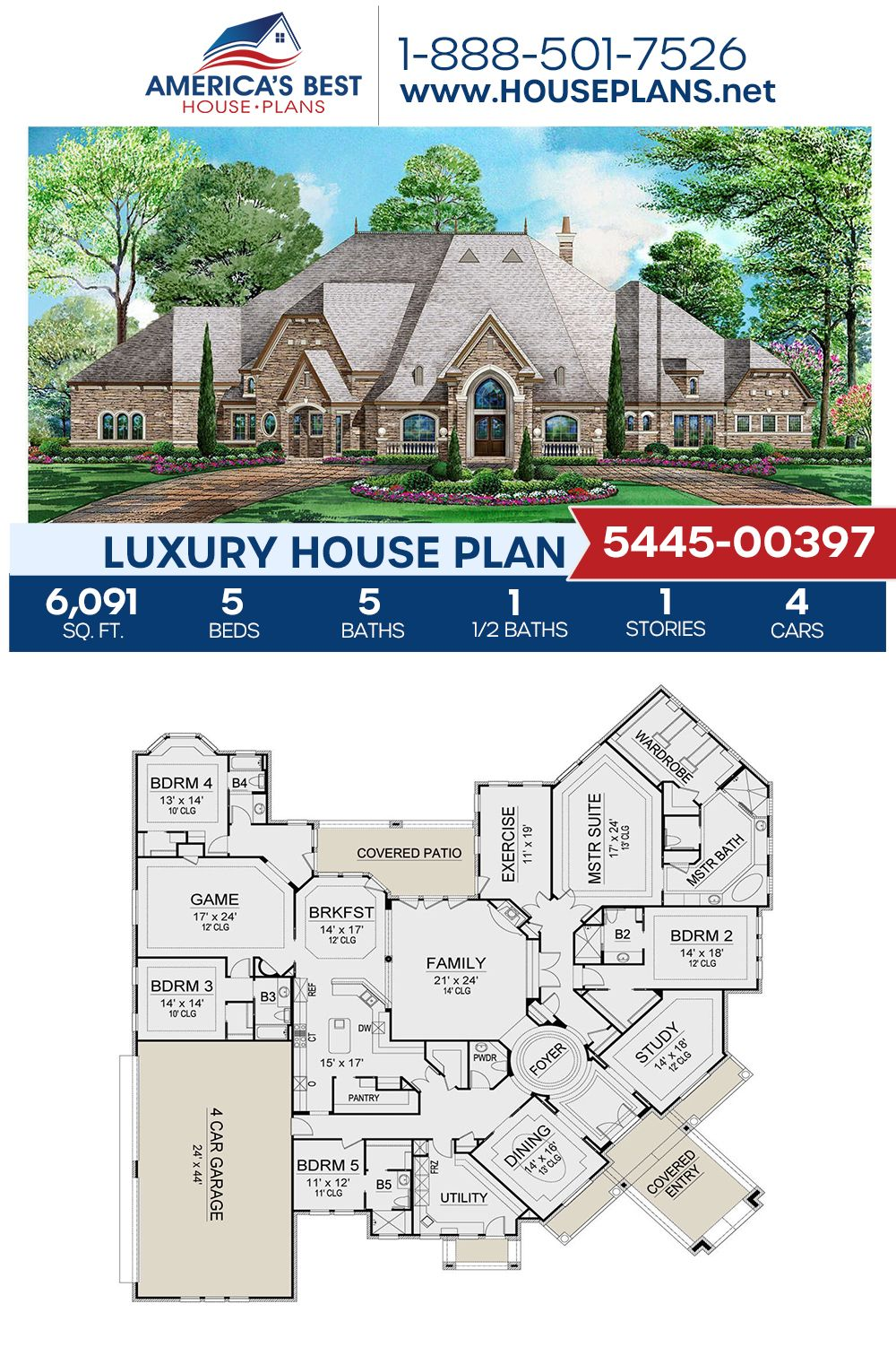 House Plan 5445 00397 Luxury Plan 6 091 Square Feet 5 Bedrooms 5 5 Bathrooms Multigenerational House Plans Luxury House Plans Sims 4 House Design