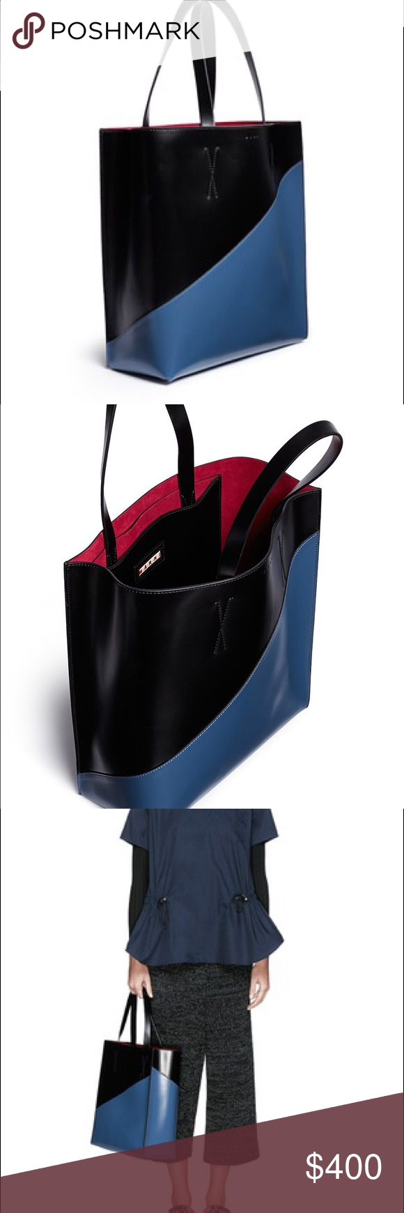 Marni colorblock Museo tote Beautiful colorblock blue/black leather tote in excellent condition. Interior is red suede. Worn a few times, tags included. Pics of actual tote coming soon! 💯 authentic. Marni Bags Totes