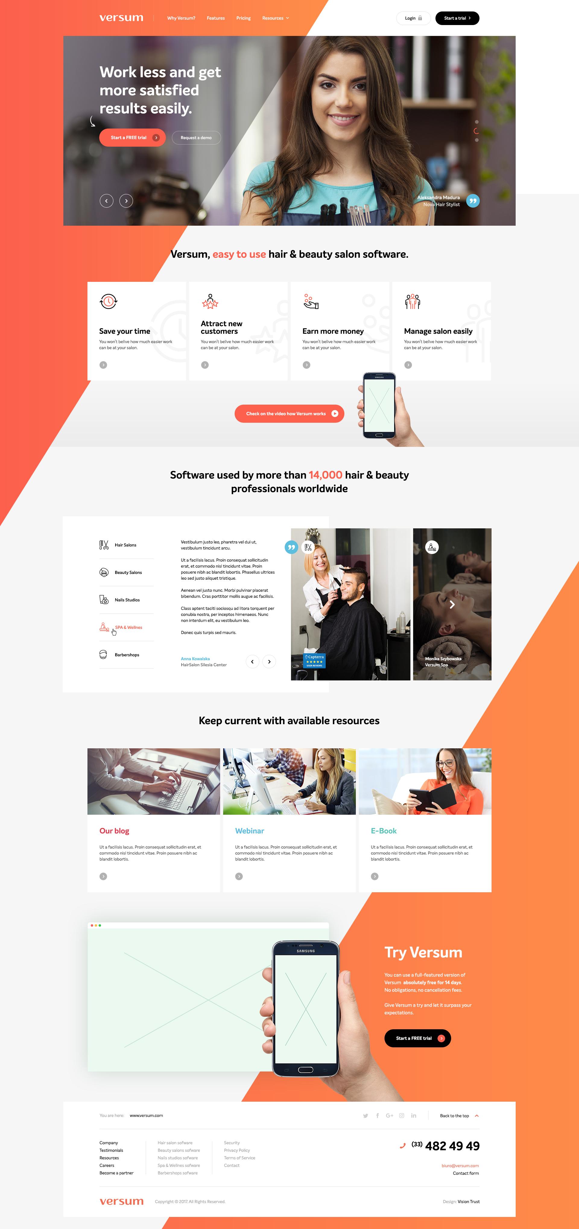 Versum home | web | Pinterest | Salon software, Website designs and ...