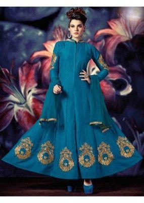 Fancy Steel Blue Banarasi Silk Anarkali Suit - 72862