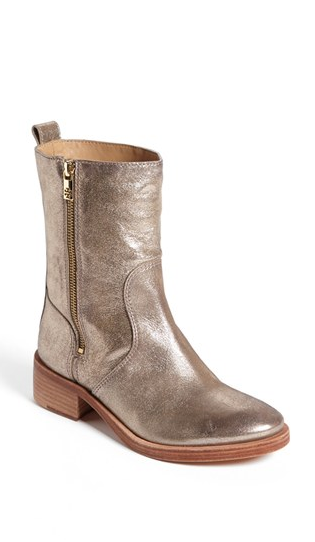 070f4833b1ae New Tory Burch Womens Gold Leather Halle Side Zip Mid Calf Boots ...