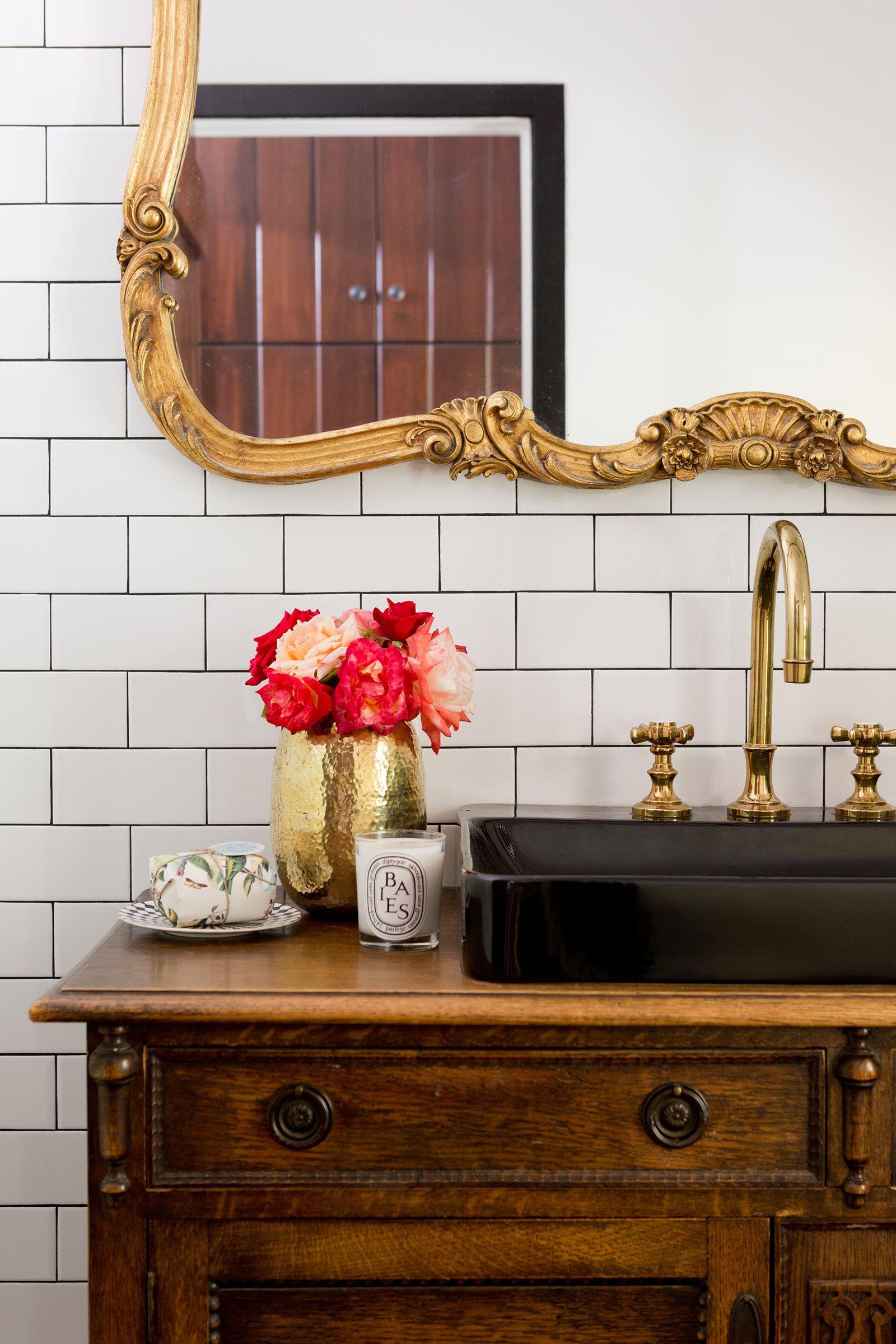 Powder Room By Amy Kartheiser Design: Black Sink And Vintage Dresser In The Powder Room. Photo