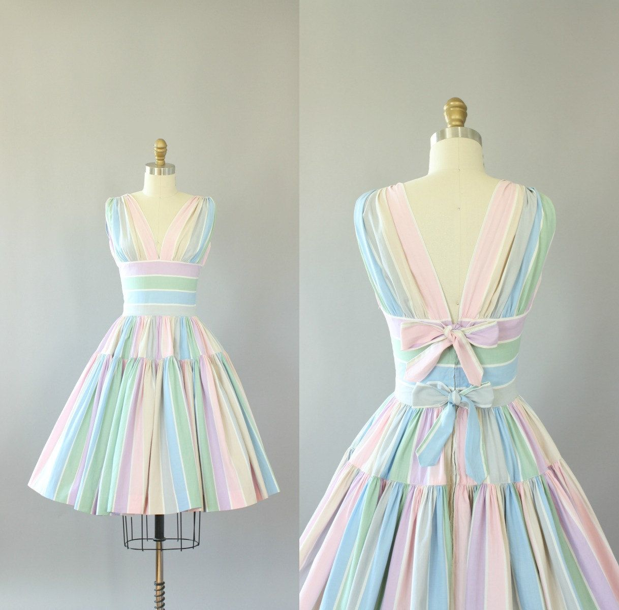 Vintage 50s Dress/ 1950s Cotton Dress/ Lord & Taylor Pastel Striped ...