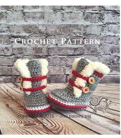 Work Sock Winter Booties - Sock Monkey Booties - Crochet Pattern (fun diy, cute crochet ideas) #crochetdolls