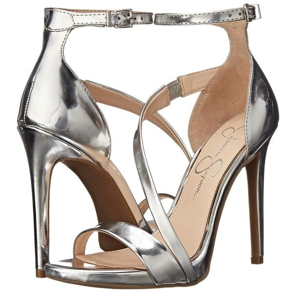 d88c98af9bd4 Jessica Simpson Rayli (Silver Liquid Metallic) High Heels ( 60) ❤ liked on  Polyvore featuring shoes