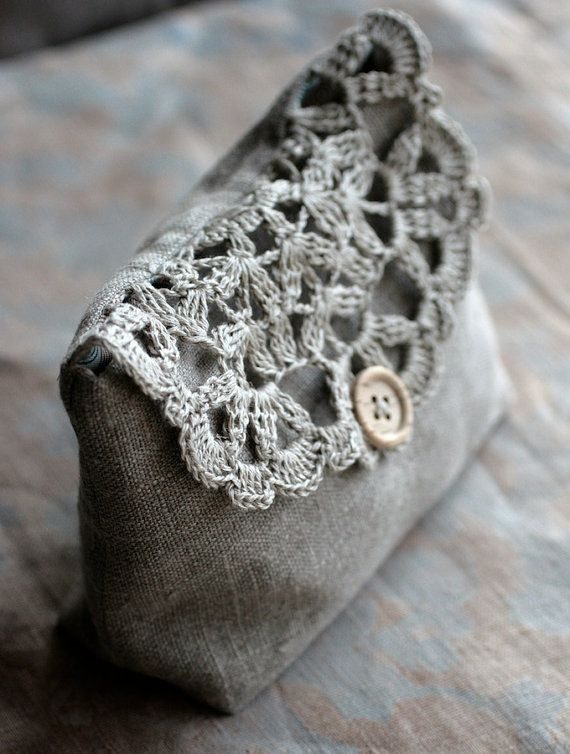 Linen and crochet pouch, make up bag, etc... Tough! | Pochette ...