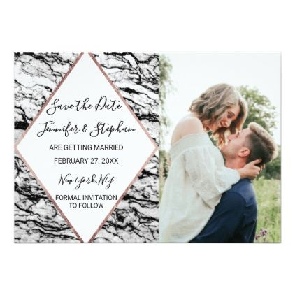 Modern Marble Rose Gold Pinstripe Save the Date Card Pinstriping - formal invitation style