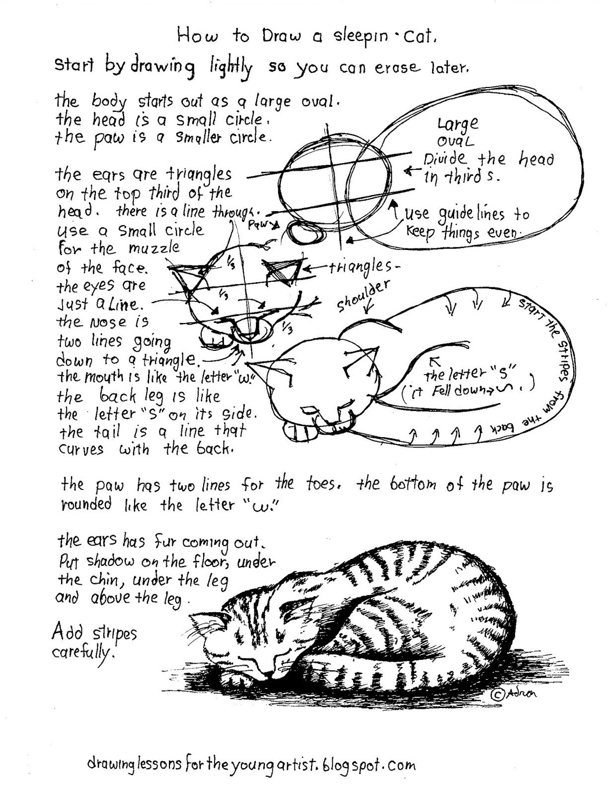 How To Draw A Sleeping Cat A Printable Worksheet