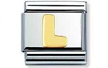 Nomination Stainless Steel with 18ct gold Letter L Classic Charm
