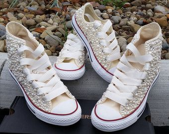Bridal Converse Wedding Bling Pearls Custom Sneakers Personalized Chuck Taylors All Star Bride