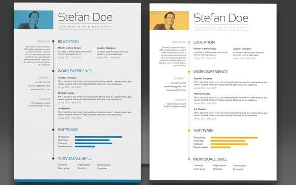 Free Vector Resume Template With Yellow Color Scheme Dengan Gambar
