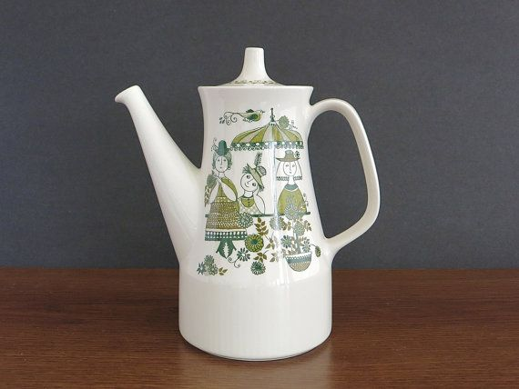 Figgjo Flint Norway Market Coffee Pot Coffee Server Teapot - Vintage 1960s Scandinavian Design Coffeepot - Turi Gramstad Oliver Design #coffeeserver