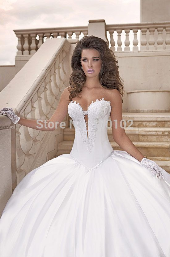 Modern Victorian Ball Gown Sweetheart Appliqued Bodice Ruffle Satin ...