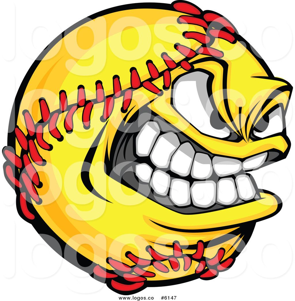 royalty free clip art vector logo of a grinning softball mascot by rh pinterest com Softball Backgrounds softball logo pics