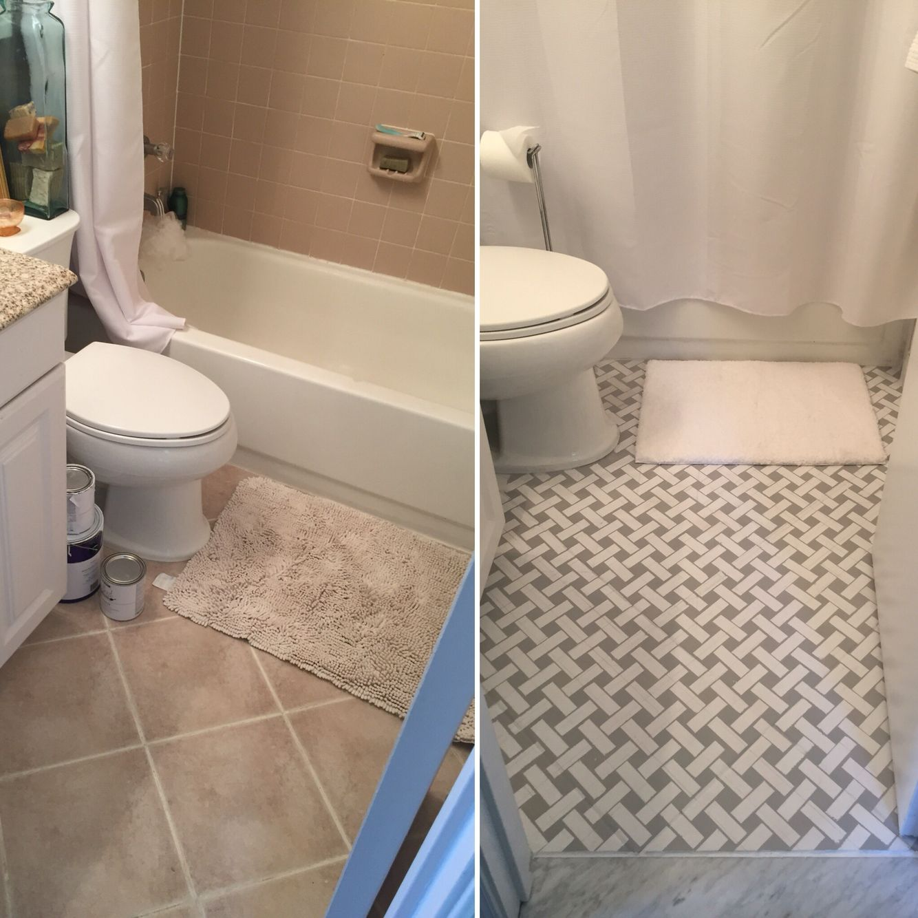 Guest Sara S Bathroom Makeover Tile Floors Painted In Chalk Paint Spray Paint Before Ha Painting Bathroom Tiles Bathroom Tile Diy Painting Tile Floors