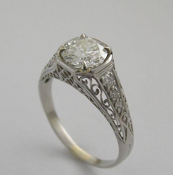 Unusual Engagement Diamond Ring - love the band!  Just wish the diamond wasn