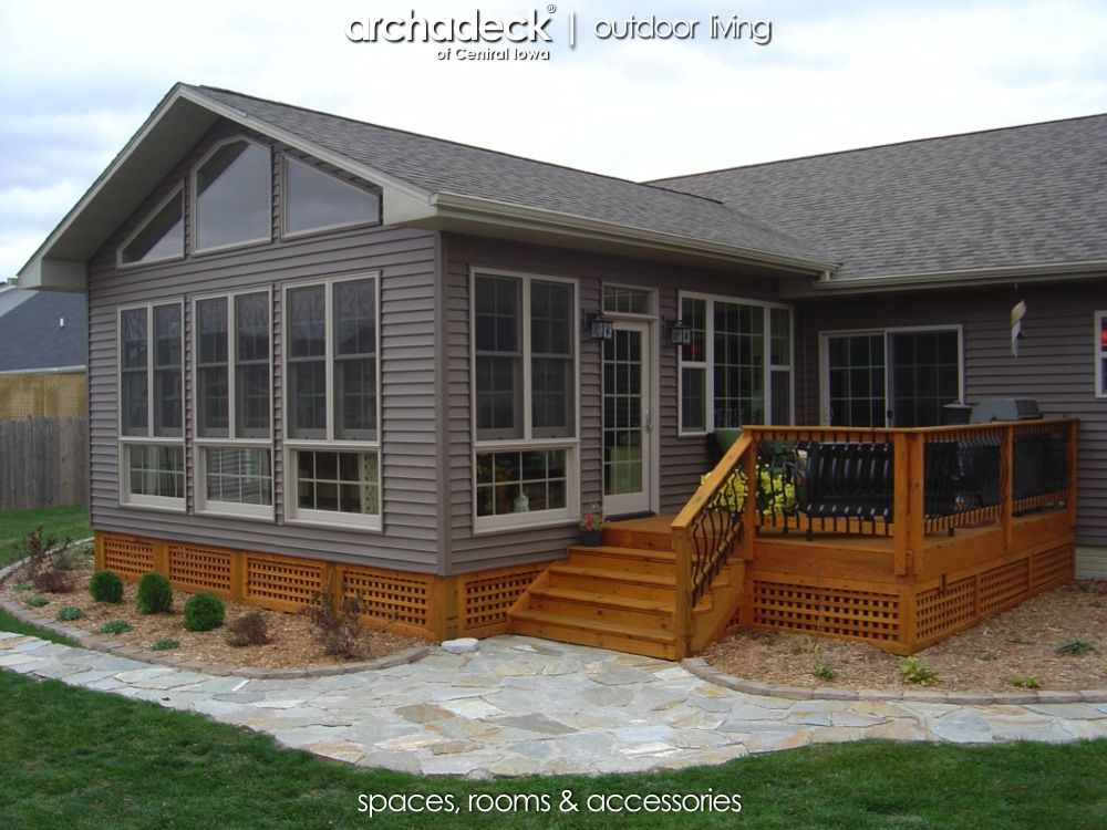 4 season room addition exterior des moines boone for Modular sunroom