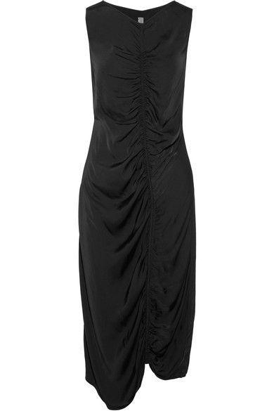 Gathered Satin-jersey Midi Dress - Black Raquel Allegra Many Kinds Of Sale Online r2h99c