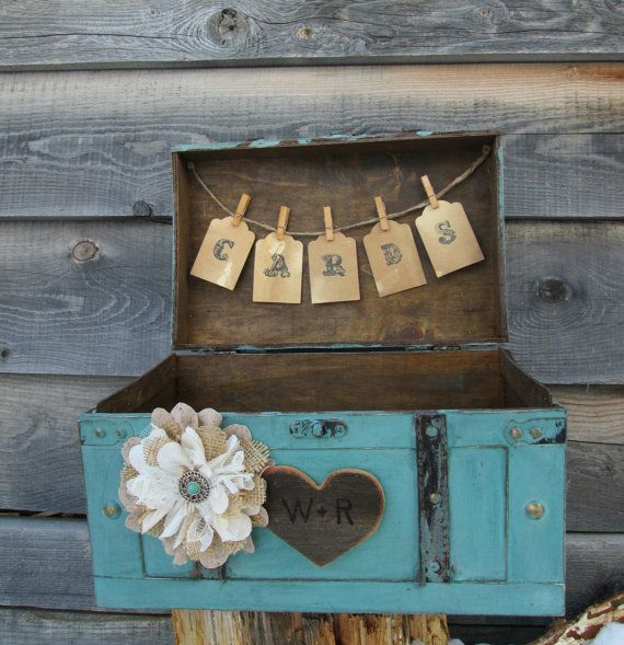 Vintage Wedding Car Keepsake In Gift Box In 2019: Personalized Rustic Trunk Card Holder