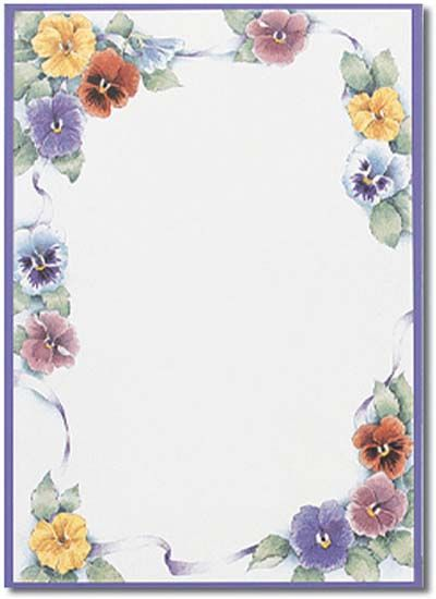 Pansy Flower Paper Free Stationery Borders For Paper Stationery Paper