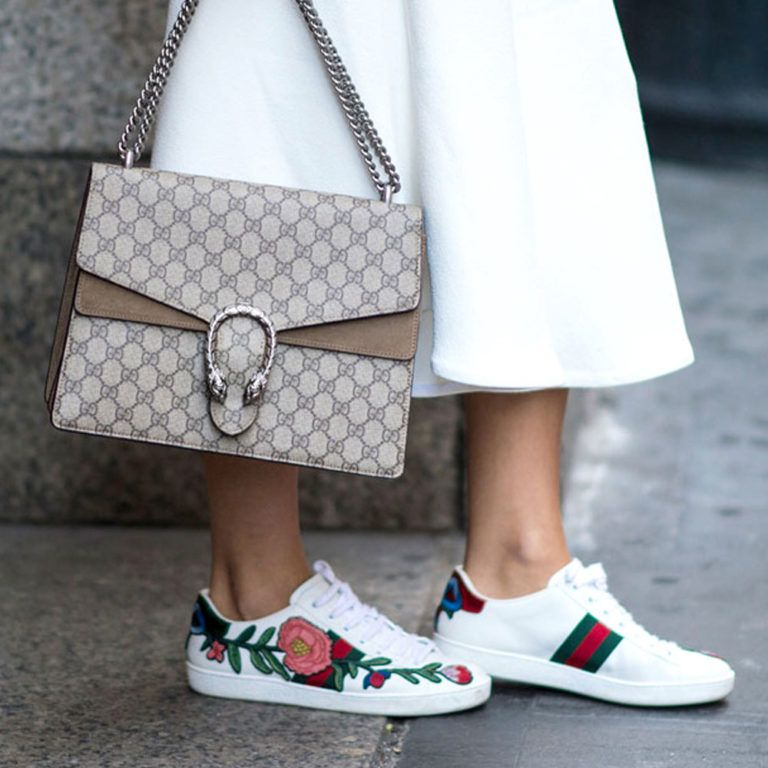 202a9f9c6c1 Sneakers can be stylish with these little Gucci numbers. Gucci Ace  Embroidered Low-Top Sneaker  695