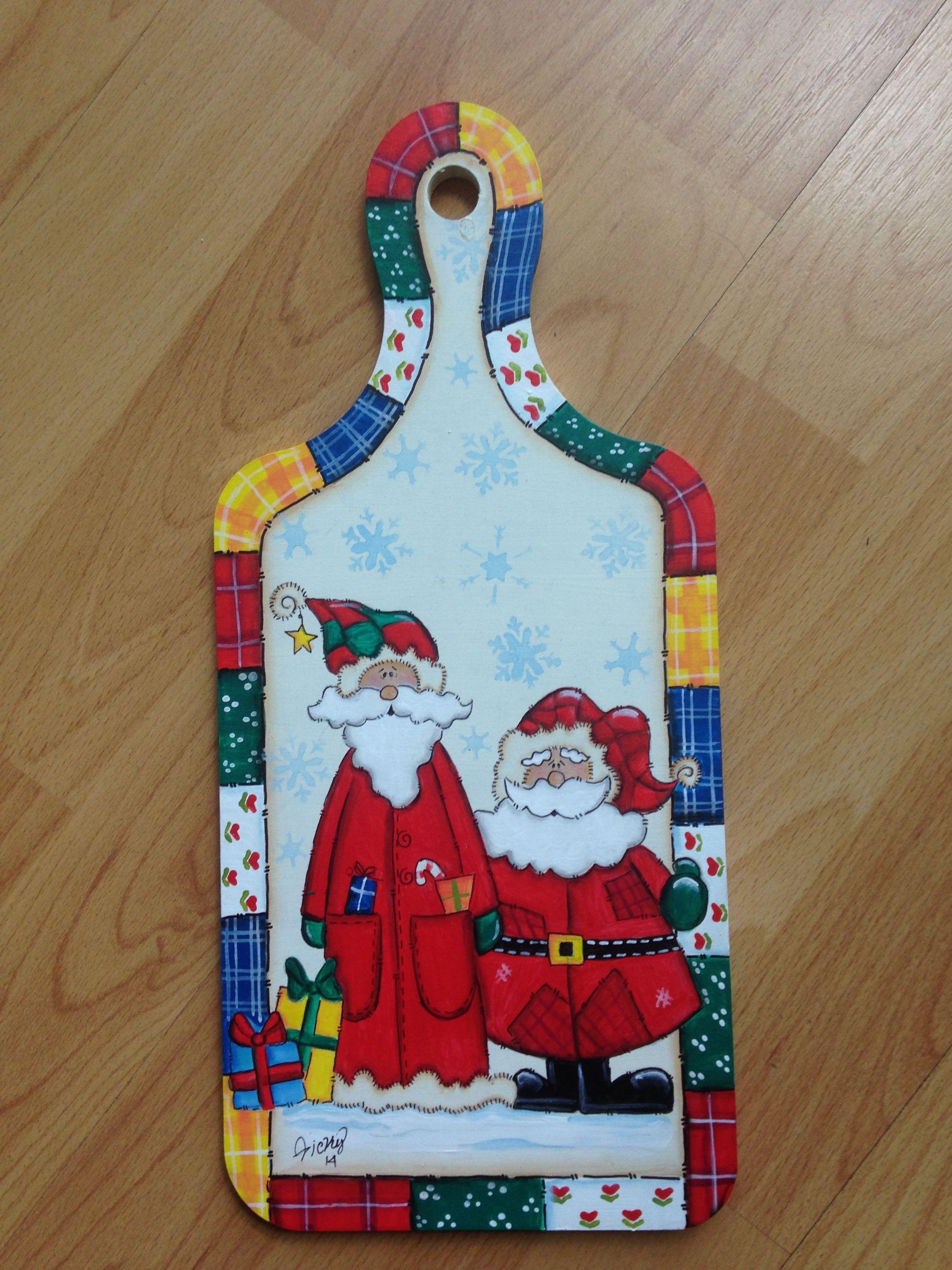 Tabla Decorativa Para Cocina Con Ganchos Para Trapitos #Santa #Navidad