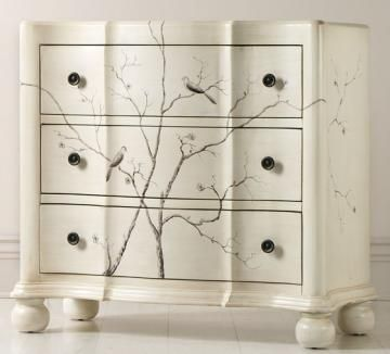 bird/branches on little chest of drawers