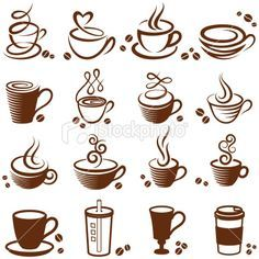 Coffee Cup Vector White Icon Set Royalty Free Stock Art Ilration
