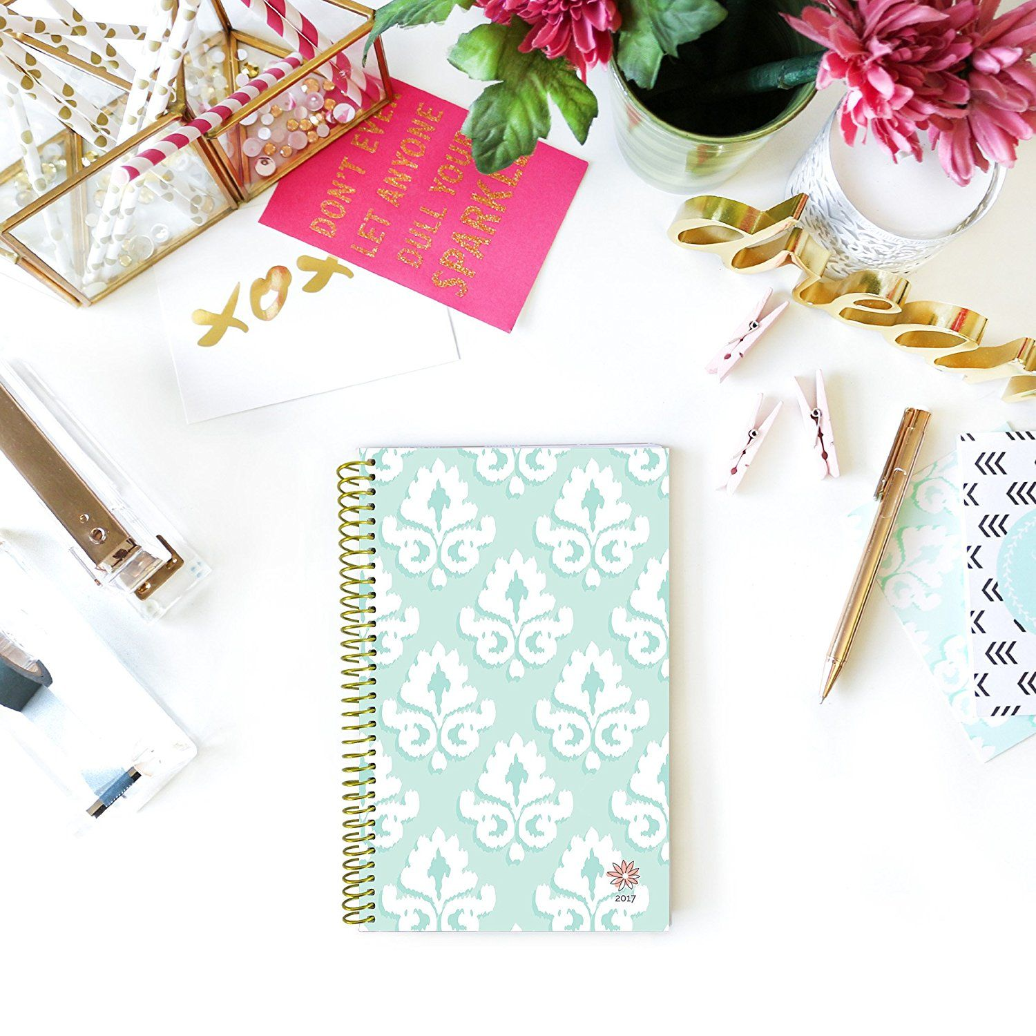 "Bloom Daily Planners 2017 Calendar Year Daily Planner - Passion/Goal Organizer - Monthly Weekly Agenda Datebook Diary - January 2017 - December 2017 - 6"" x 8.25"" - Mint Damask"