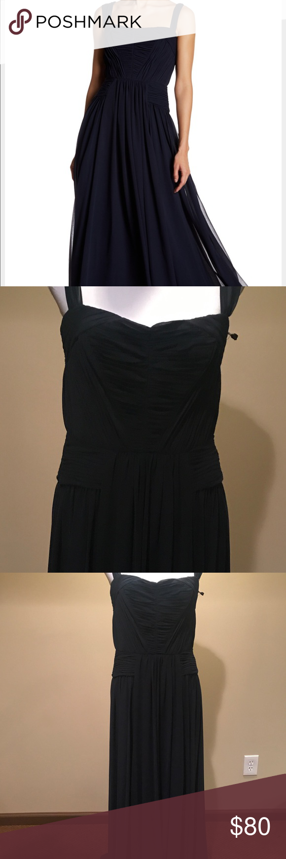 Vera Wang Chiffon Navy Blue evening gown Vera Wang Navy Blue Chiffon long Gown  Size 8  Very flowy  Lined  100% Polyester lining 96% Polyester 4% spandex  Great for Bridesmaids or other formal events  NWT MSRP $278 Vera Wang Dresses Wedding