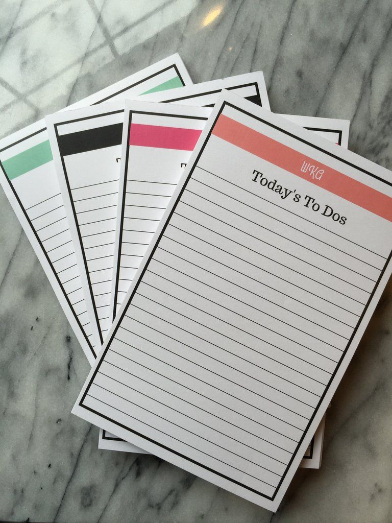 Monogrammed Top Stripe Today's To Dos Notepad Available in Mint, Black, Coral and Pink