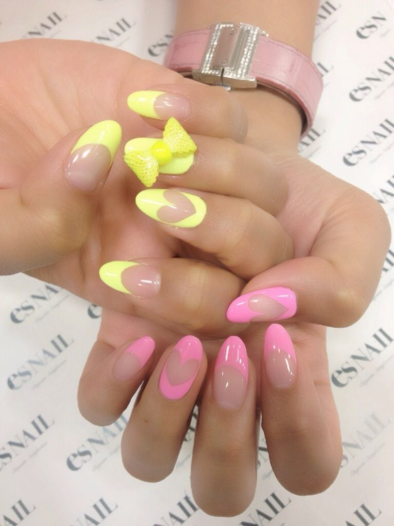 3 love the pic of bright French tips with nude hearts. I gotta ...