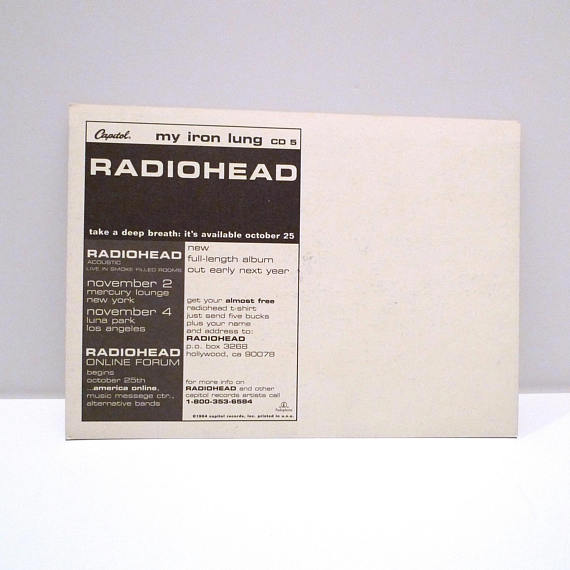Radiohead -- My Iron Lung Postcard 1994 Vintage Thom Yorke Band Release /  Live Dates Announcement Ca