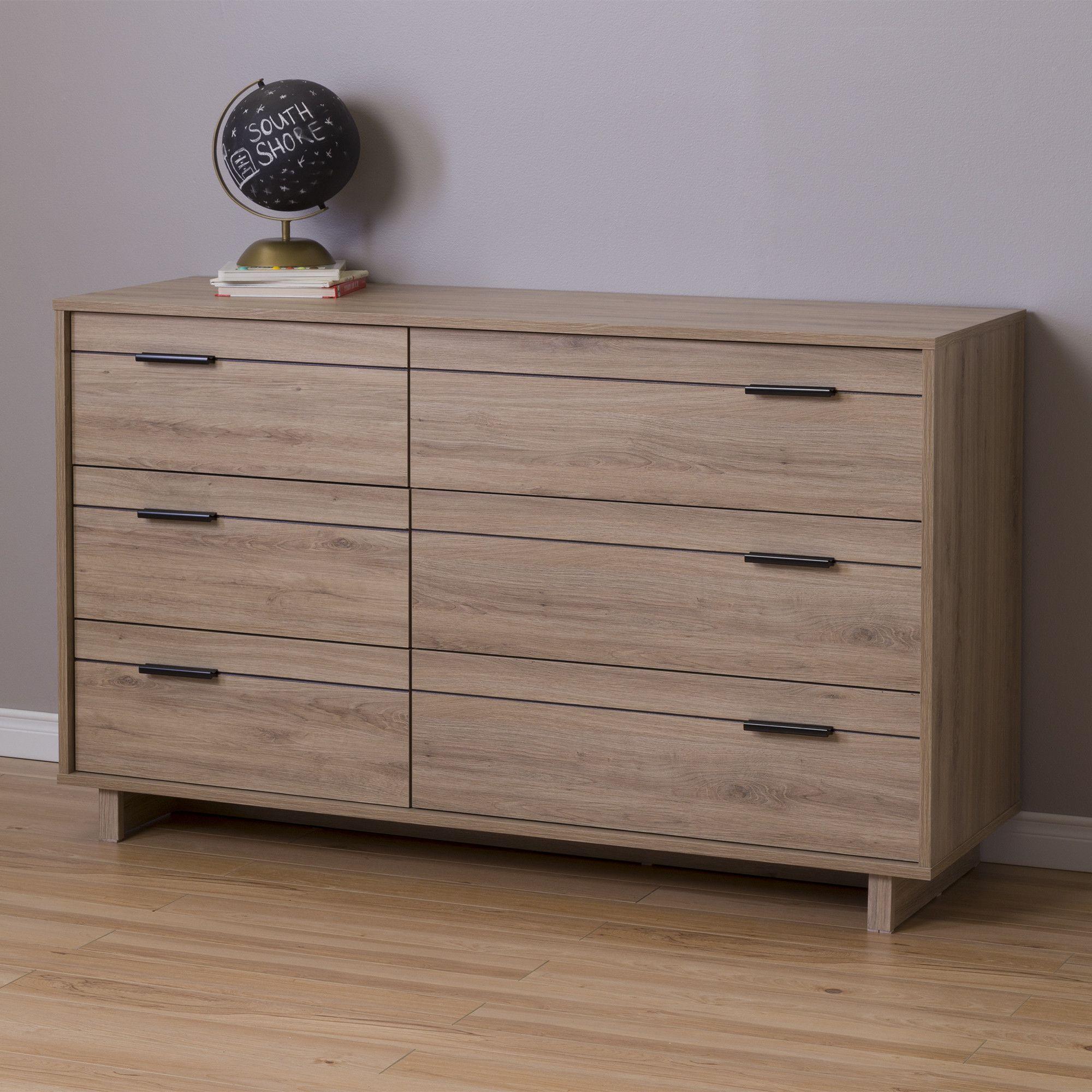 Fynn 6 Drawer Double Dresser Hout
