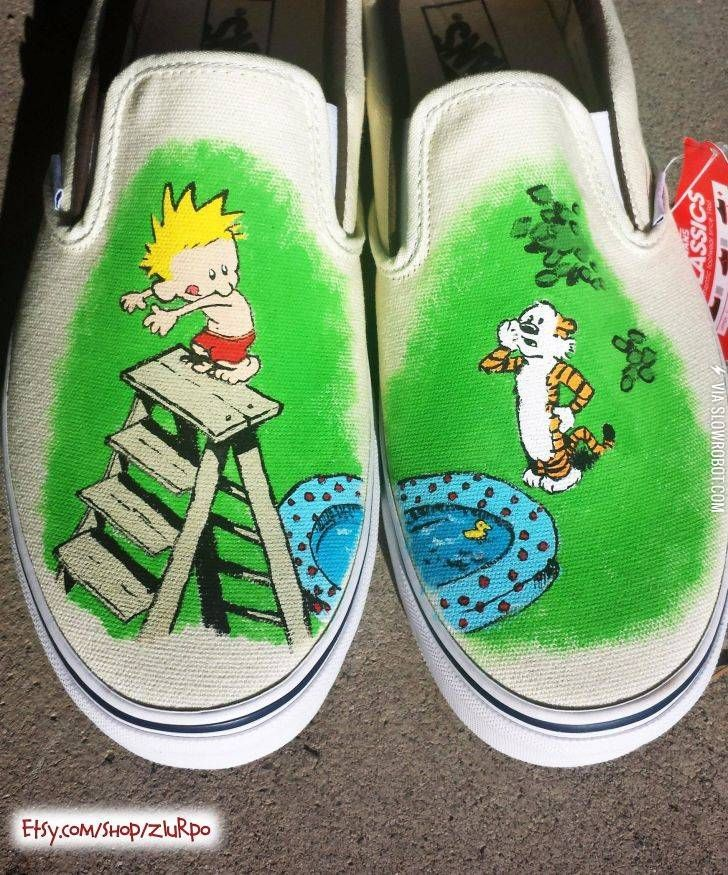 Calvin and hobbes shoes calvin and hobbes diy sneakers