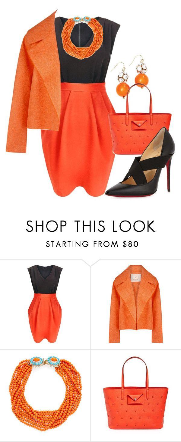 """Orange & Black"" by bhattasharmaluna ❤ liked on Polyvore featuring Closet, Roksanda, Kenneth Jay Lane, Marc by Marc Jacobs, Christian Louboutin, black and orange"