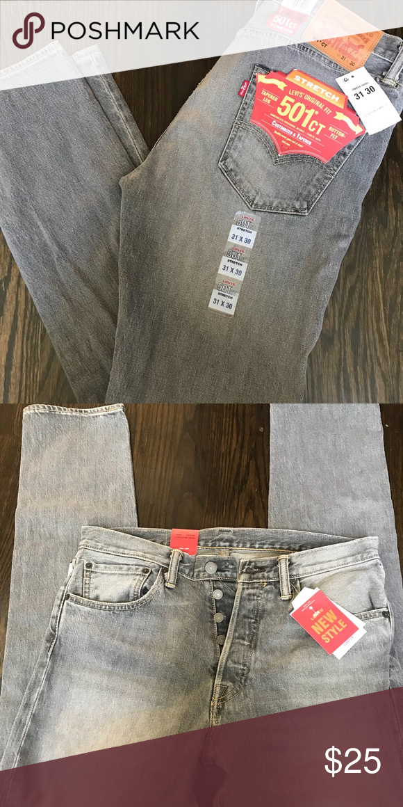 90e7e710 NWT Levi 501 CT Stretch Denim, Tapered, Button Fly Authentic Men's Levi  Strauss 501 CT stretch denim. Customized and tapered button-fly jeans.