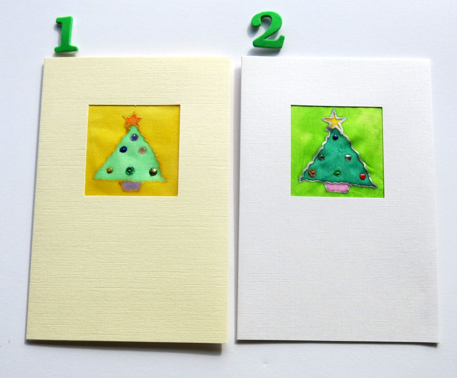 Holiday Card Silk Painted Cards Christmas Card Christmas Tree