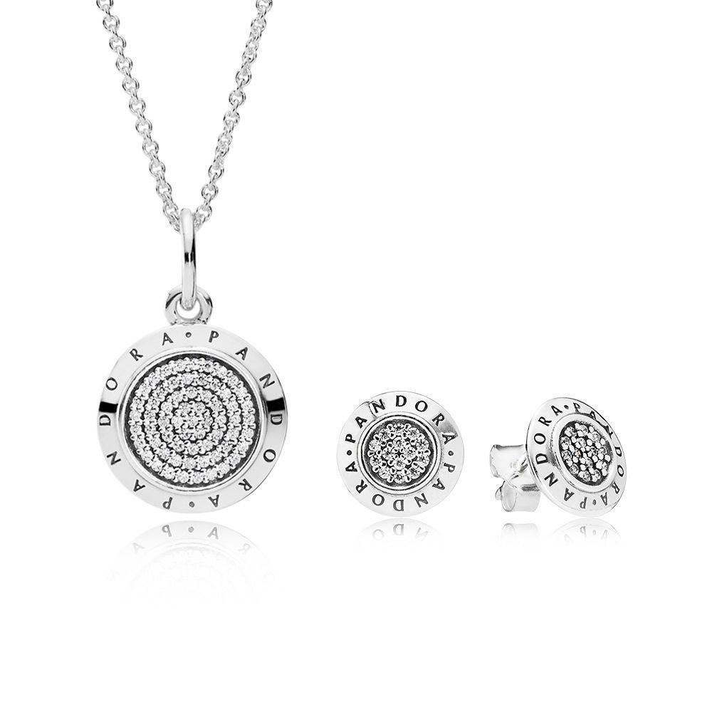 PANDORA Signature Necklace and Earring Set | pandora.estore ...
