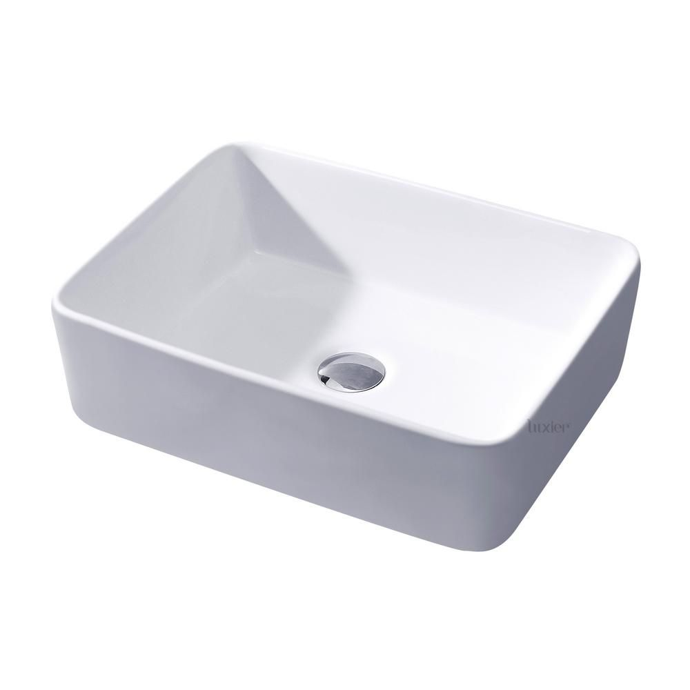 Luxier Rectangular Bathroom Ceramic Vessel Sink Art Basin In White