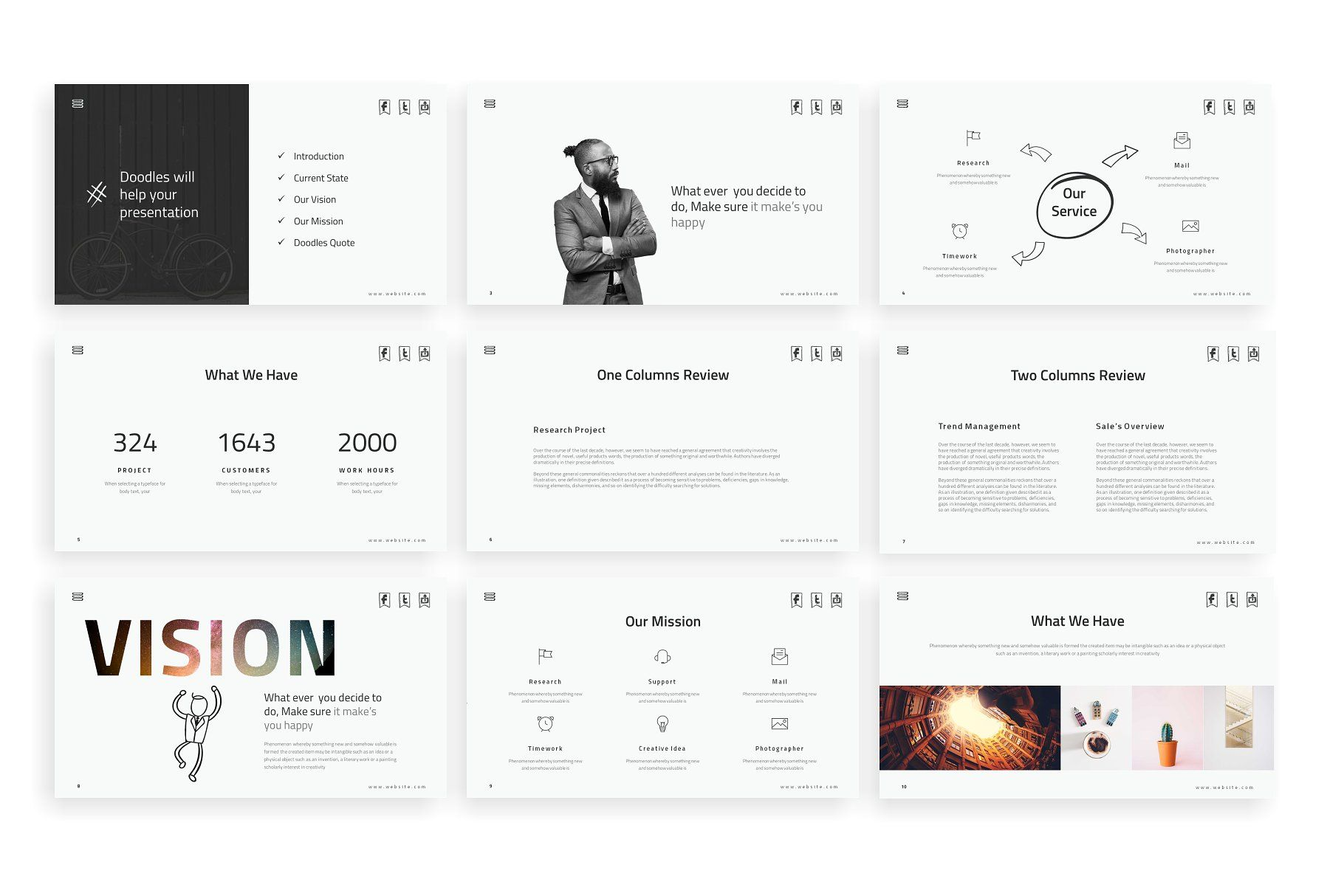 Doodles - Powerpoint Template #Pages#Documentation#PDF#Vector