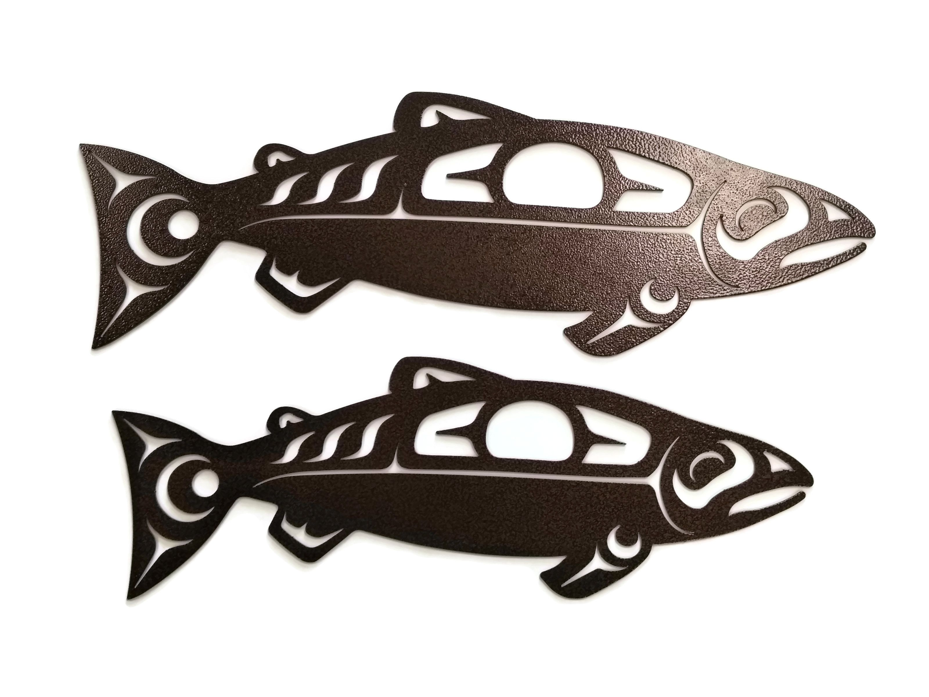 Tribal Salmon Wall Art Decor Available In 20 And 24 Black Or Copper Metal Wall Art Art Wall Art