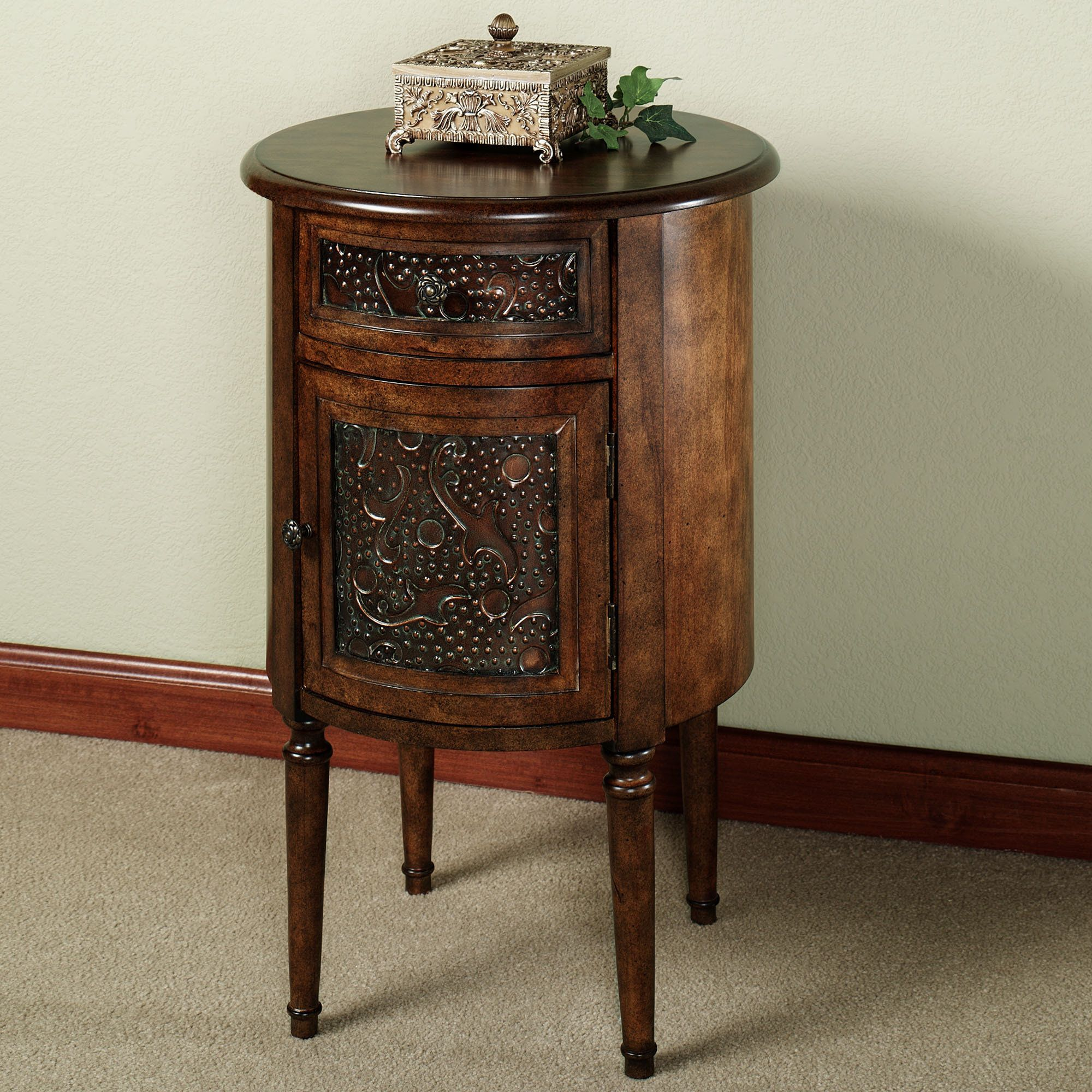 The Lombardy Round Storage Accent Table Will Grace Any Area Of Your Home With Elegance Wooden Accent Table Has An English Walnut Finish And Is Accented