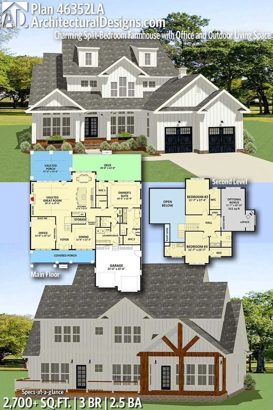 Architectural designs home plan la gives you bedrooms baths and sq ft add screen porch off owners suite office is homeschool room also charming split bedroom farmhouse with rh pinterest