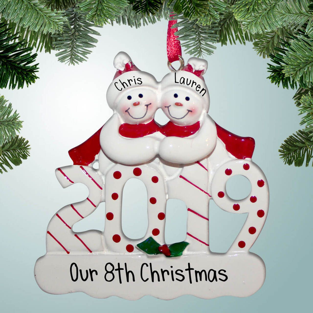 2019 Snowman Couple Personalized family ornaments