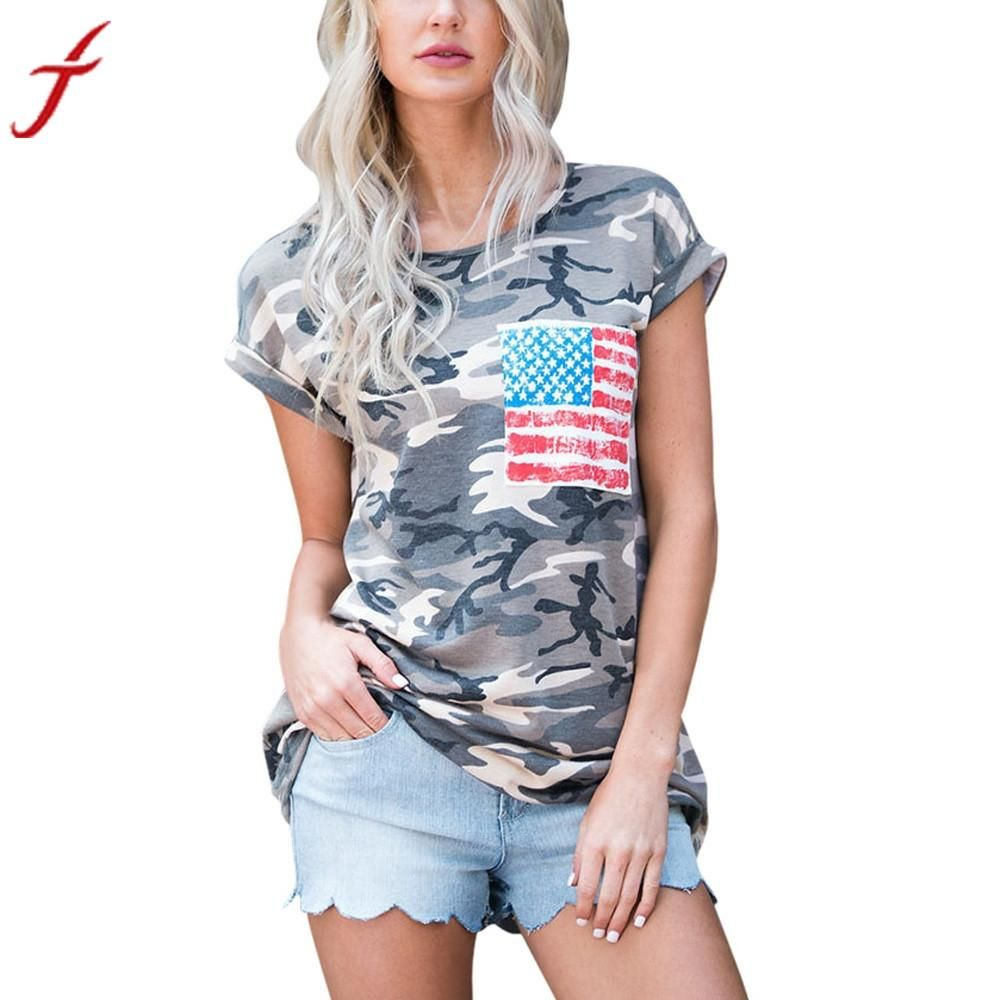 55d50fa4 2017 Summer Women Short Sleeve Camouflage T Shirts Womens O-Neck Military  Army Cotton Tops T-Shirt With Pocket Tops and Tee