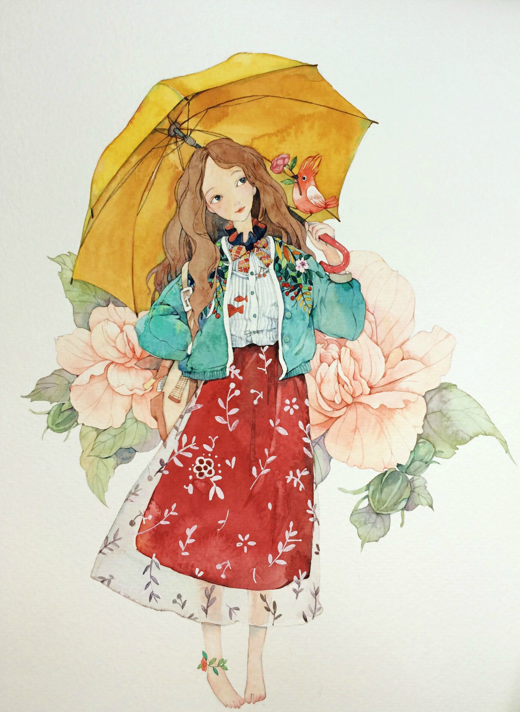 By 那仁 (Naren) | Cute illustration, Watercolor illustration, Watercolor girl