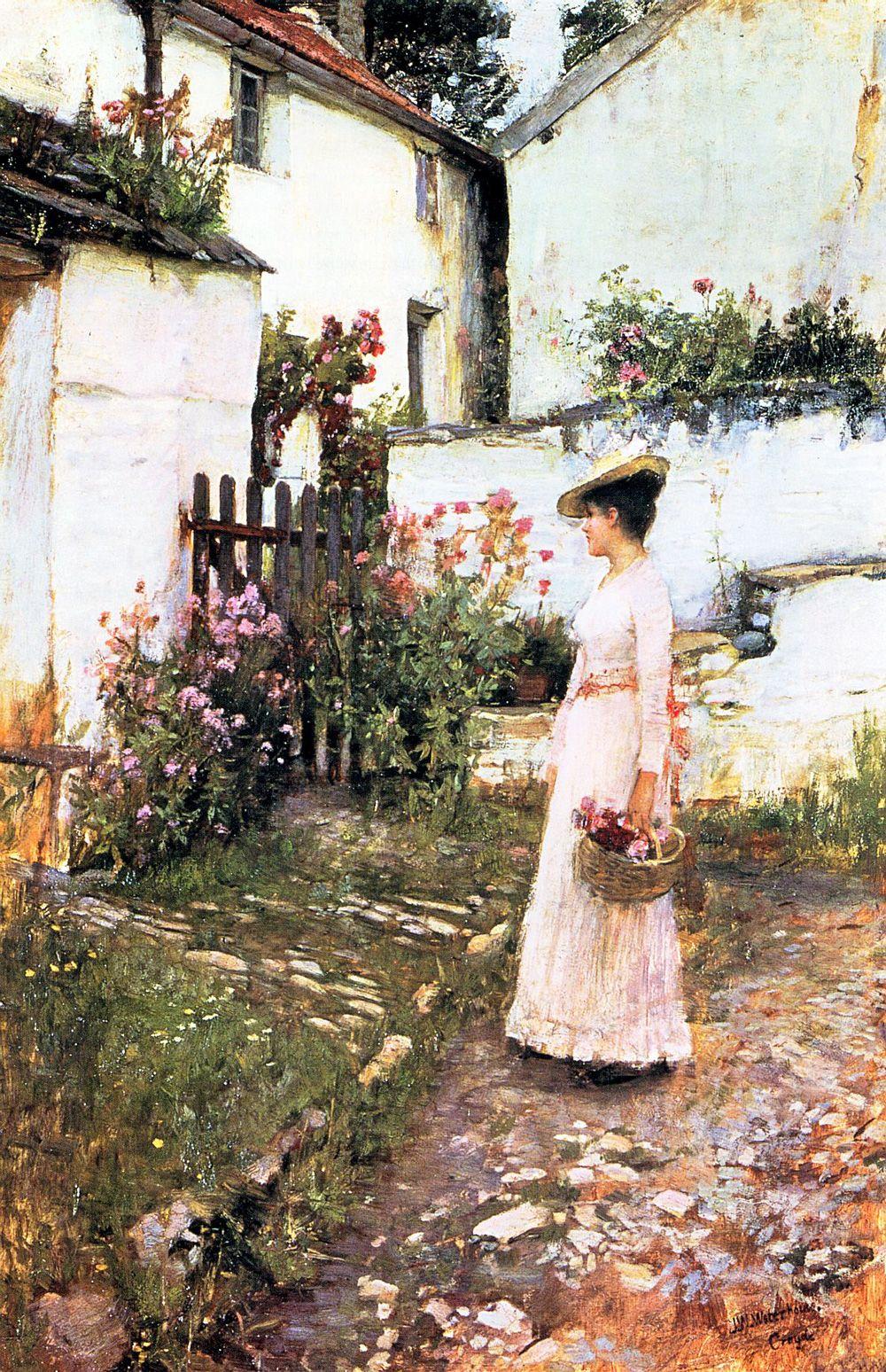 Gathering Summer Flowers in a Devonshire Garden by John William Waterhouse
