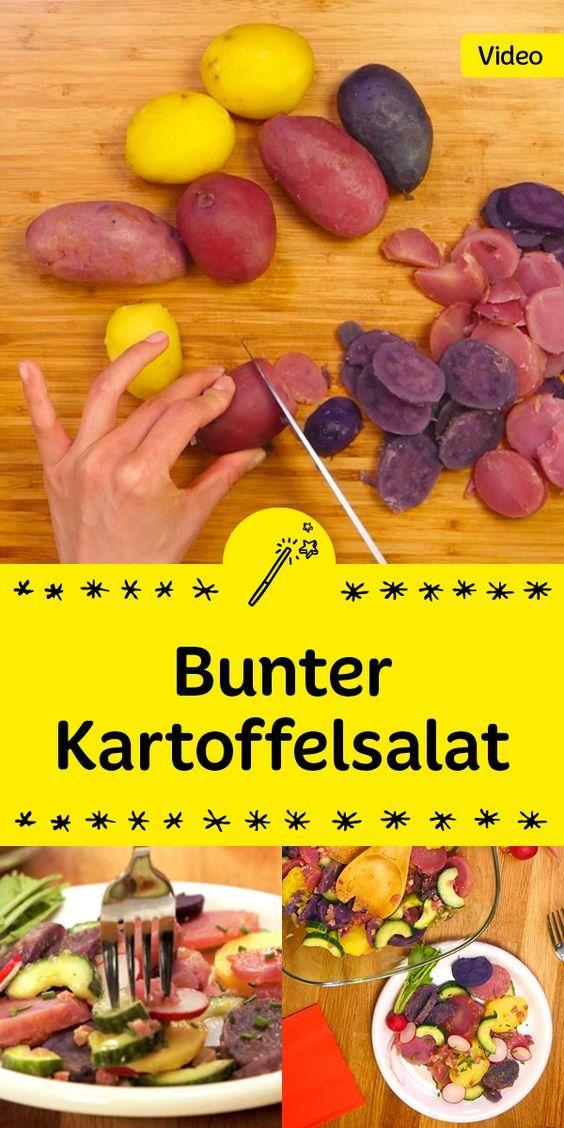 Dieser Kartoffelsalat bringt Farbe auf den Teller! Mit drei besonderen Sorten Kartoffeln zeigt sich er von seiner bunten Seite - probier es aus!