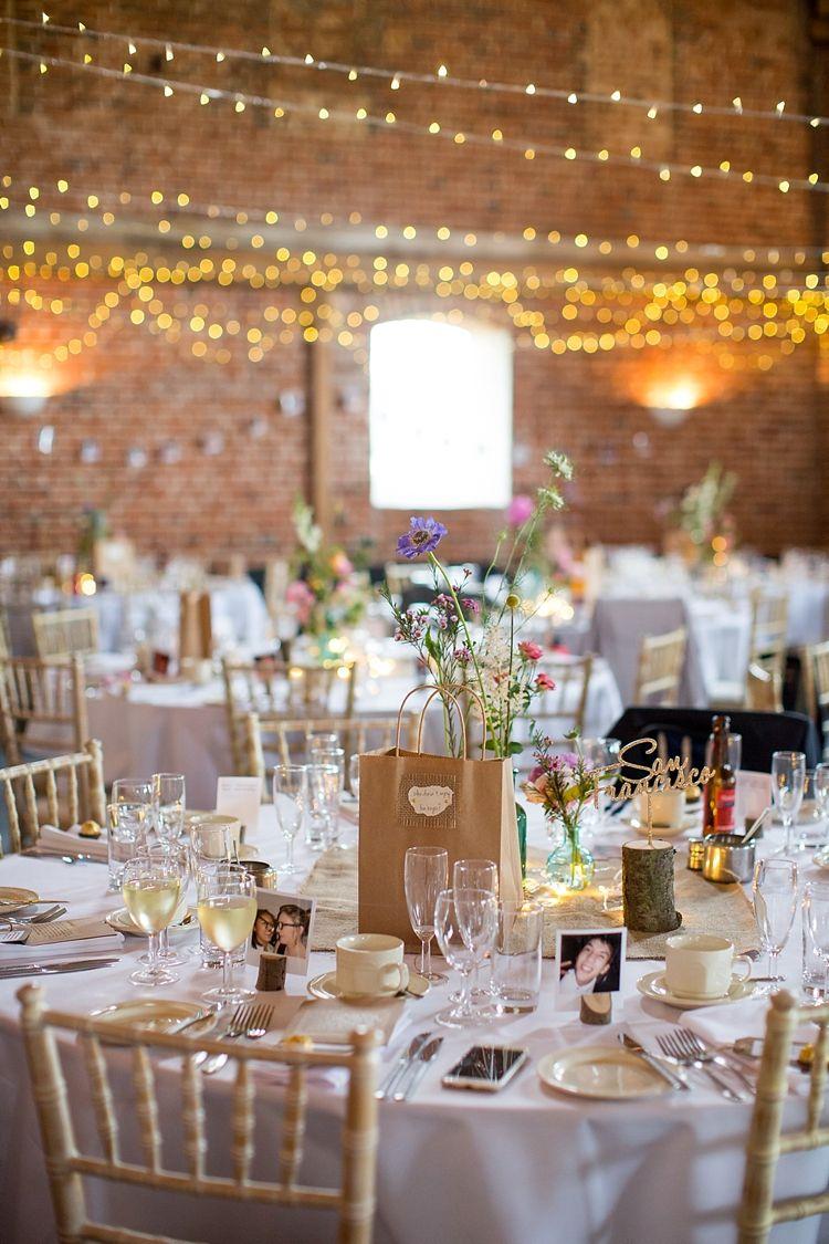 Barn wedding with fairy lights  Pretty Meets Relaxed Countryside Wedding  Wedding Barn weddings